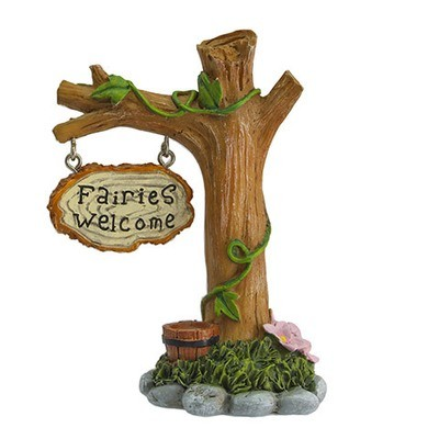 Mini Fairy Garden Fairies Welcome Tree Stump Figurine: 4 inches