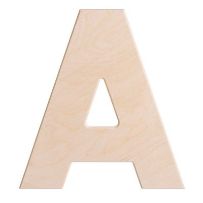 12 inch Bold Unfinished Wood Letter A