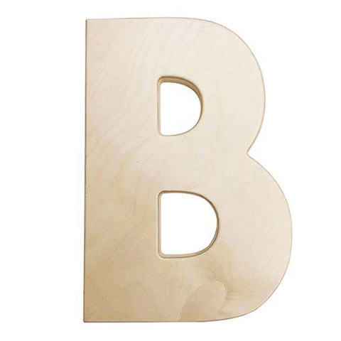12 inch Bold Unfinished Wood Letter B