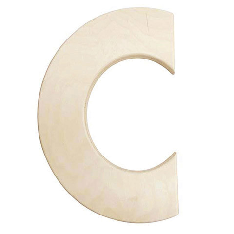12 inch Bold Unfinished Wood Letter C