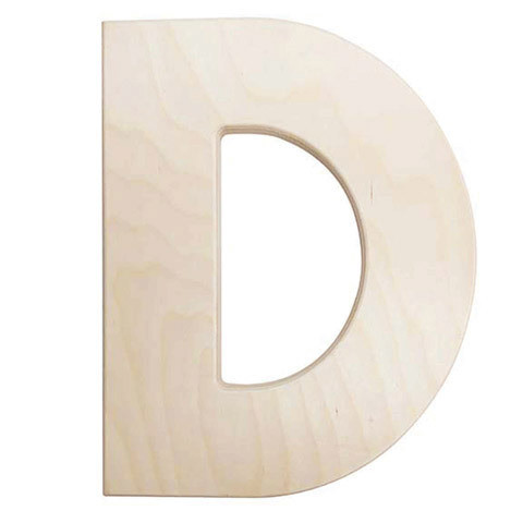 12 inch Bold Unfinished Wood Letter D