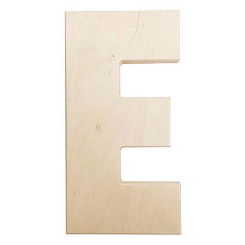 12 inch Bold Unfinished Wood Letter E