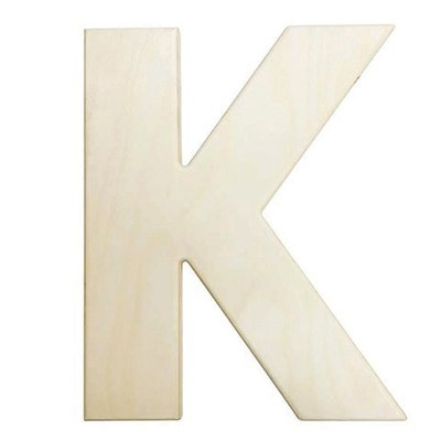 12 inch Bold Unfinished Wood Letter K