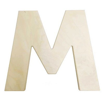12 inch Bold Unfinished Wood Letter M
