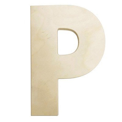 12 inch Bold Unfinished Wood Letter P