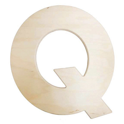 12 inch Bold Unfinished Wood Letter Q