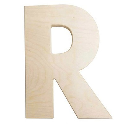 12 inch Bold Unfinished Wood Letter R
