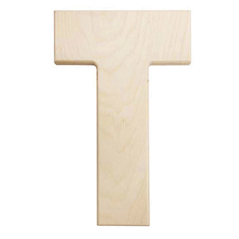 12 inch Bold Unfinished Wood Letter T