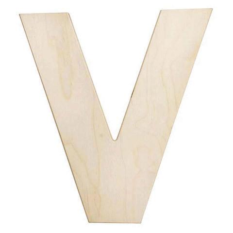 12 inch Bold Unfinished Wood Letter V