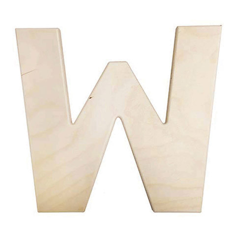 12 inch Bold Unfinished Wood Letter W