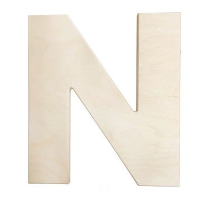 12 inch Bold Unfinished Wood Letter N
