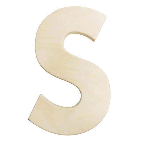 12 inch Bold Unfinished Wood Letter S