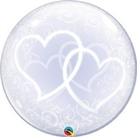 24 inch Deco BUBBLE Entwined Hearts