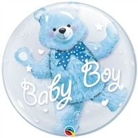 24 inch DECO BUBBLE  BABY BOY WITH BEAR