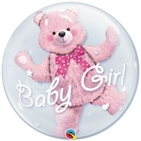 24 inch DECO BUBBLE  BABY GIRL WITH BEAR