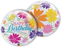 22 inch BUBBLES Happy Birthday Flowers & Filigree (PKG), Price Per EACH