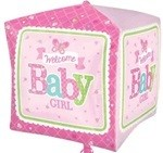 16 inch Welcome BABY Girl Butterfly Cubez (PKG), Price Per EACH