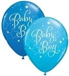 11 inch Qualatex Round BABY BOY Stars, Price Per Bag of 25