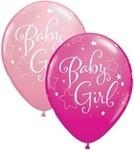 11 inch Qualatex Round BABY GIRL Stars, Price Per Bag of 25