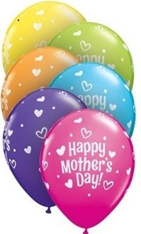 11 inch Qualatex Mother's Day Hearts & Dots, Price Per Bag of 25