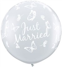 3 foot Qualatex JUST MARRIED BUTTERFLIES on DIAMOND CLEAR, Price Per Bag of 2