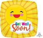 18 inch Get Well Sunbeam Foil Balloon (PKG)