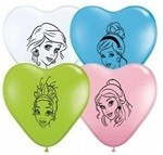 Mixed 6 inch Qualatex Disney Princess Face Heart Assortment, Price Per Bag of 25