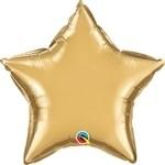 20 inch CHROME GOLD Qualatex Star Foil Balloon, Price Per EACH