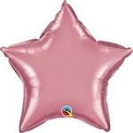20 inch CHROME MAUVE Qualatex Star Foil Balloon, Price Per EACH