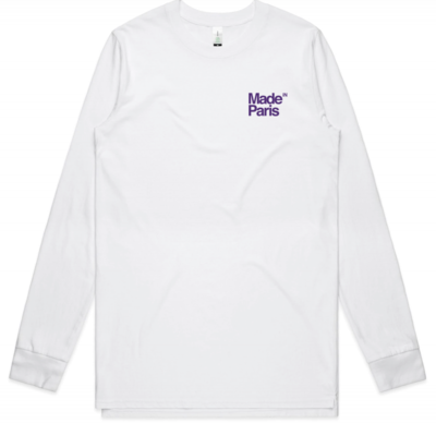 LOGO LONG SLEEVE TEE - PURPLE ON WHITE