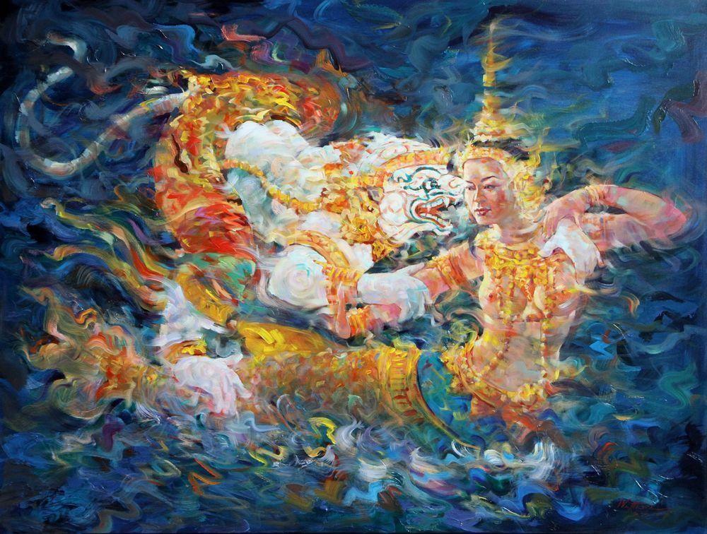 HANUMAN DANCING WITH SUWAN MACHA