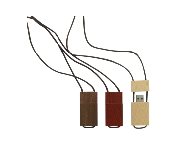 USB Stick aus Holz mit Kappe und Lederband
