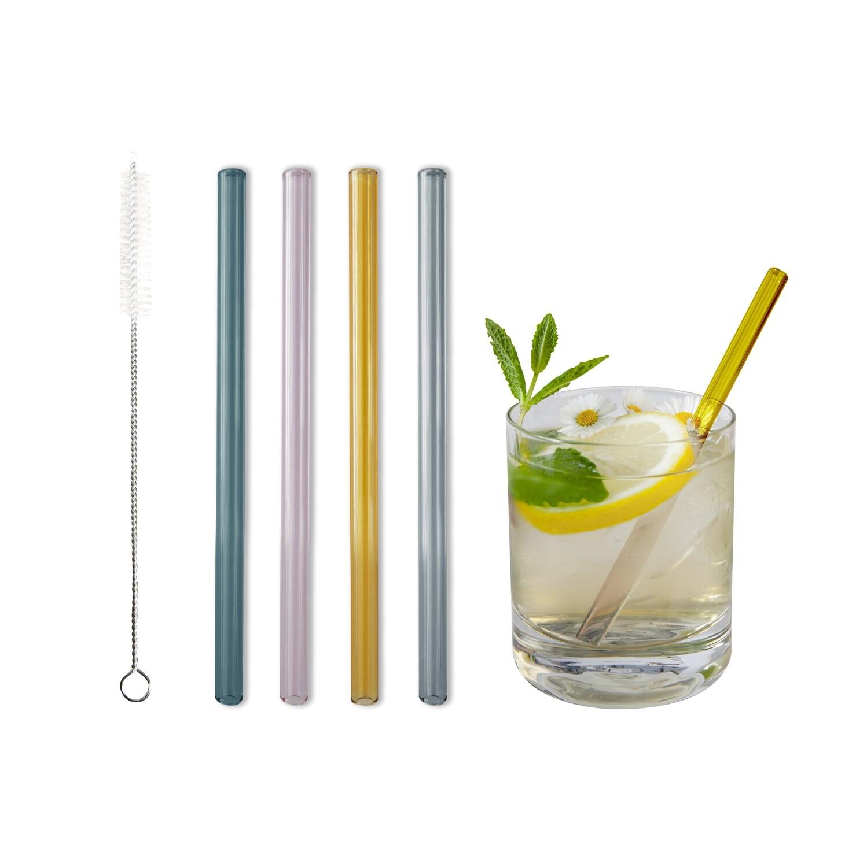Glastrinkhalm 4er Set bunt (15cm)