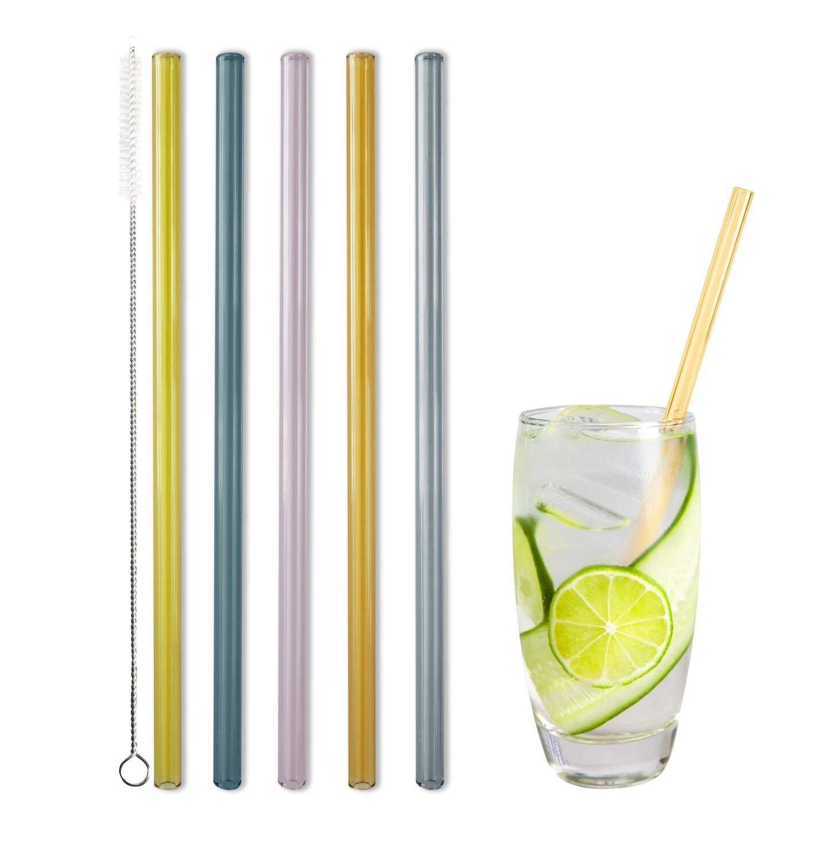 Glastrinkhalm 4er Set bunt (21cm)
