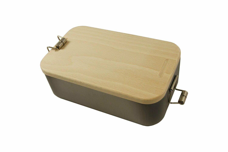 Brotdose aus Edelstahl mit Holzdeckel