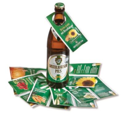 Coupon-Flaschenanhänger mit Saatgut
