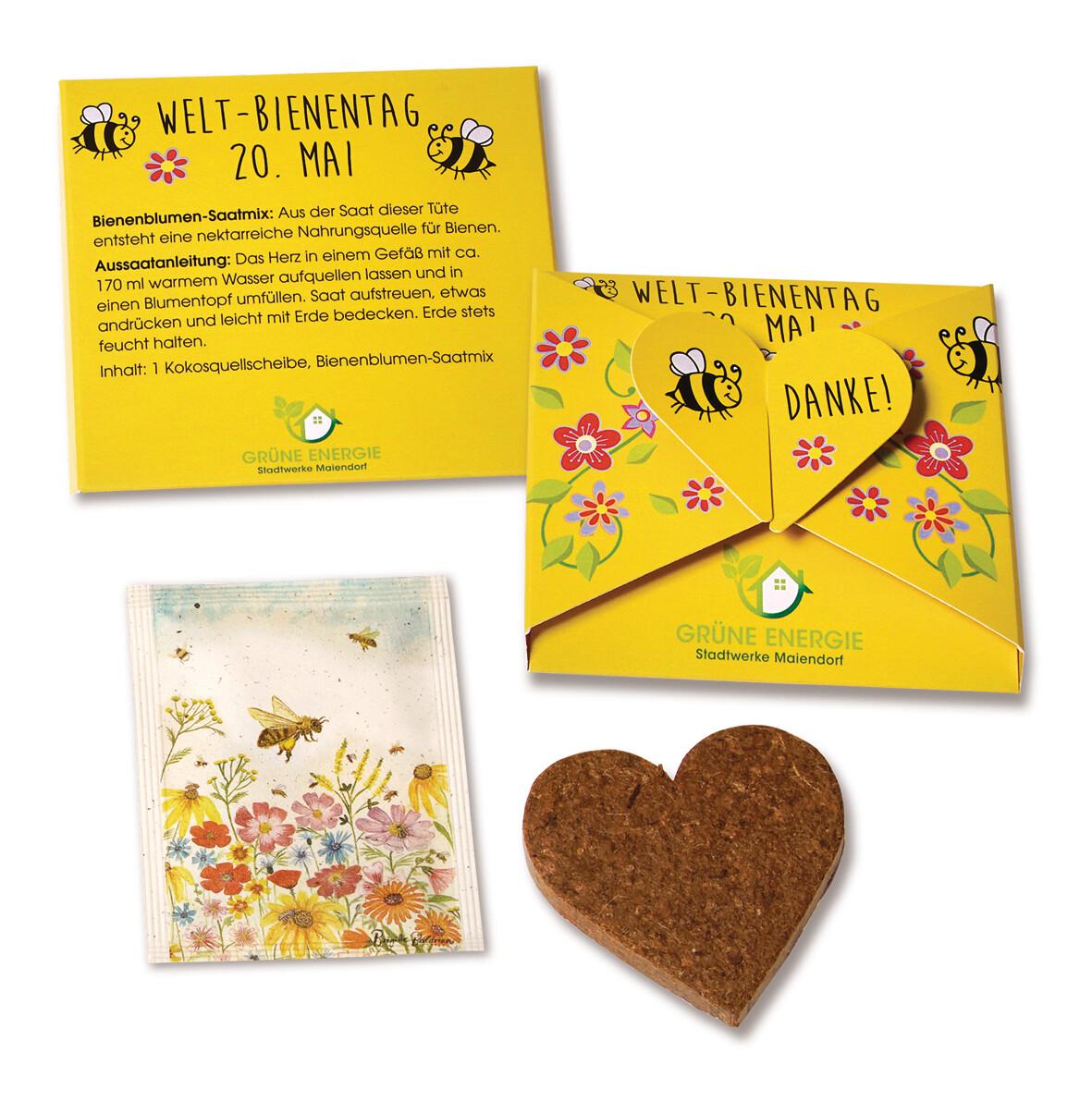 Bienen Herz Karte mit Saatgut