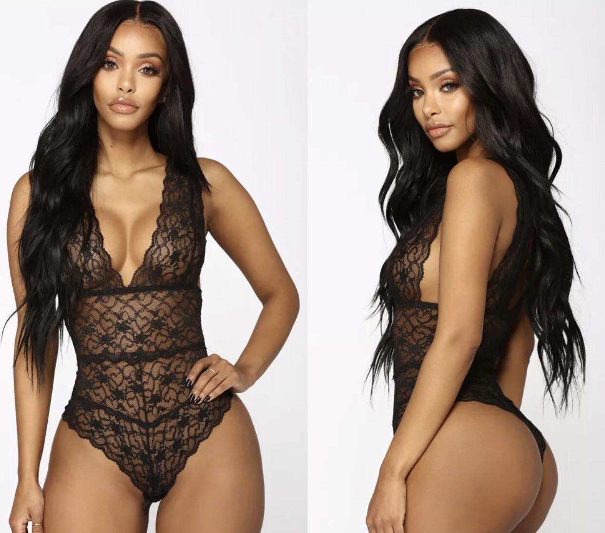 """Royale """"Veronica"""" Women's Lace Bodysuit Top Romper"""