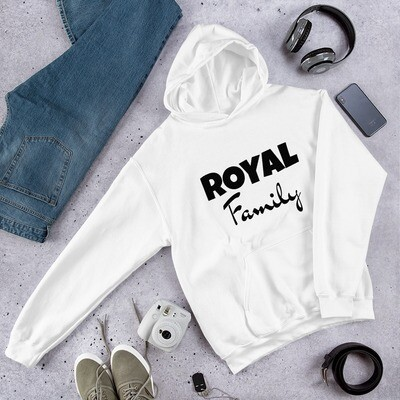 Royal Family (Black Print) Unisex Hoodie (With Custom Name On Back)
