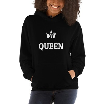 Royale QUEEN (White Print) Hooded Sweatshirt (With Custom Name On Back)