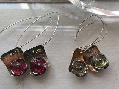 Sterling Silver Glass Bead Earrings - VDesigns