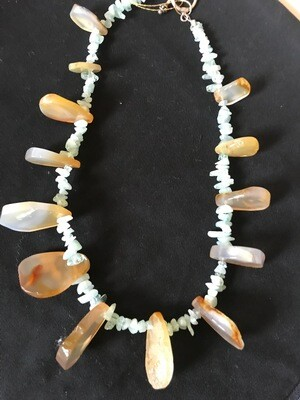 Now $10 Off  Agate - Quartz chips - Sterling Silver Necklace - VDesigns