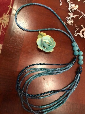 Blue Czech Crystal Necklace - VDesigns