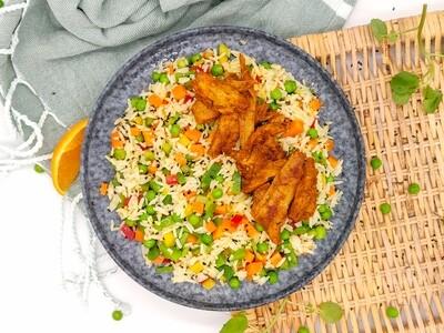Orangen Reis mit Gemüse | Vegan