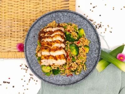 BBQ Reispfanne   Hühnchen