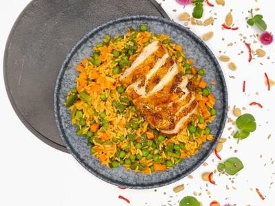 Satay Reis   Hühnchen