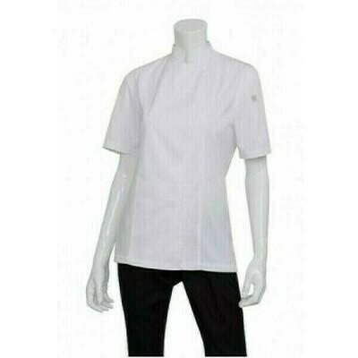 Chefworks Springfield Womens White Zipper Chef Jacket