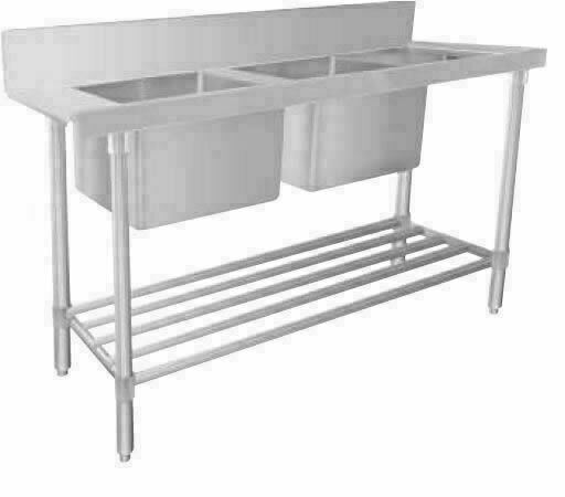 Stainless Steel Dishwasher Double Inlet Sink 1650W x 600D x 900H