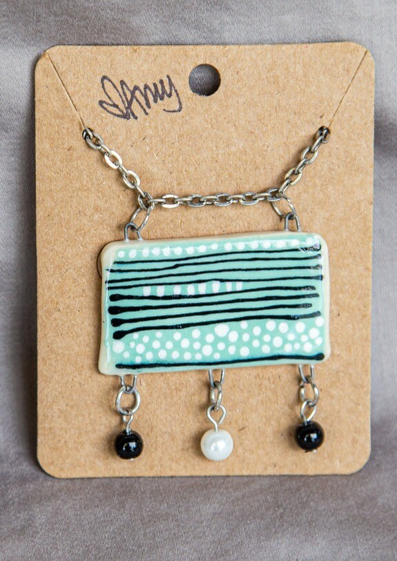Mint Black Line Pendant with Charms