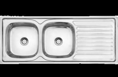 Sink double bowl drop in 1.2